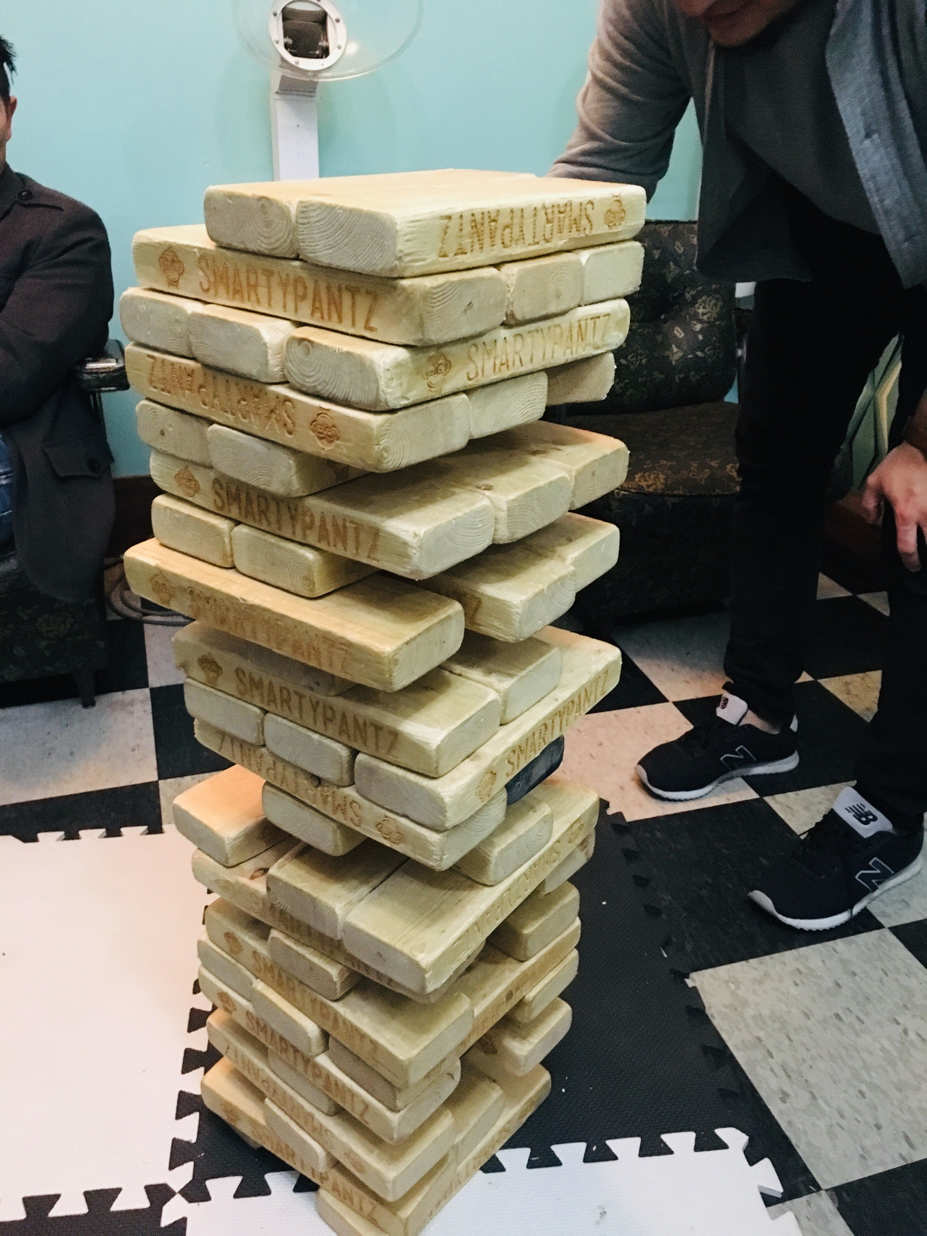 jenga blocks at escape game night